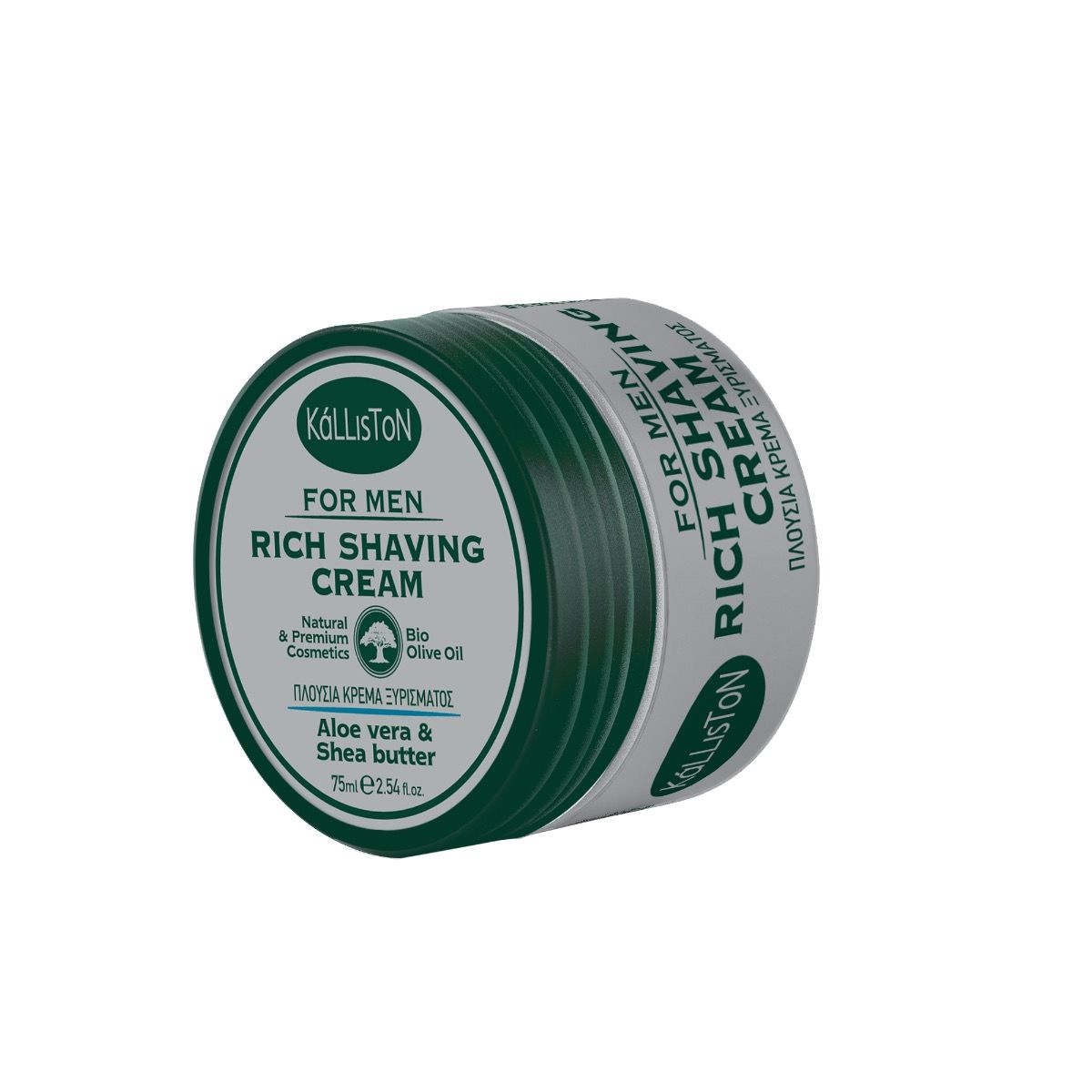Natural, velvety – texture shaving cream with aloe vera juice, shea butter and organic olive oil