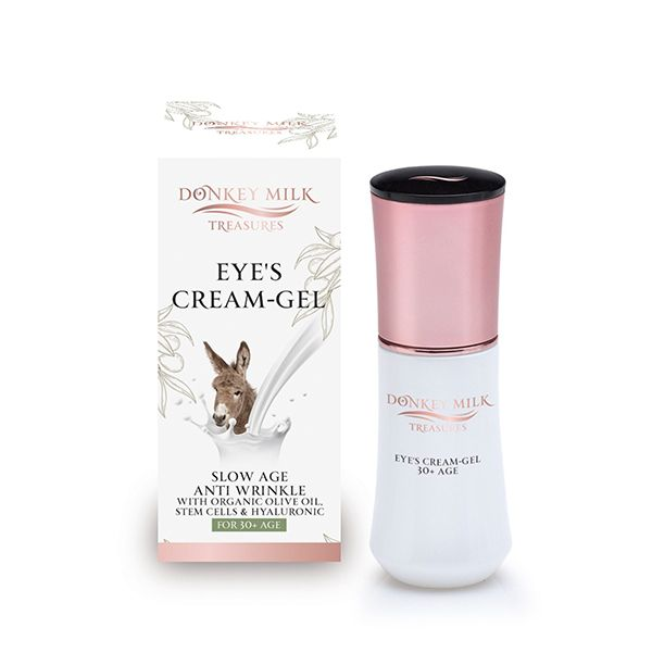Slow age & anti wrinkle eye's cream-gel for all skin types with 100% Greek donkey milk, plant stem cells, hyaluronic & organic olive oil
