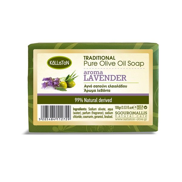 Traditional pure olive oil soap for the body and face with Lavender aroma| 100 gr