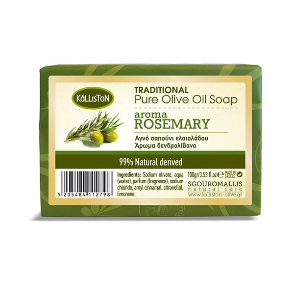 Traditional pure olive oil soap with Rosemary aroma   100 gr