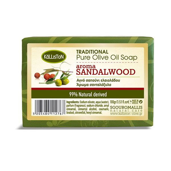 Traditional pure olive oil soap with Sandalwood aroma