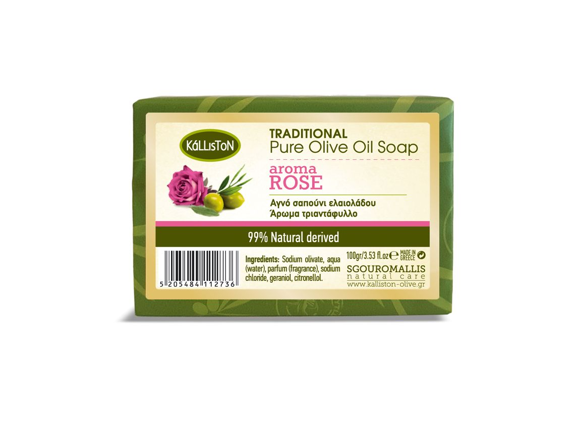 Traditional pure olive oil soap for the body and face with Rose aroma   100 gr