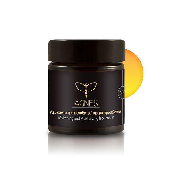 Whitening and moisturizing face cream for all skin types with beeswax that offers protection against sunlight