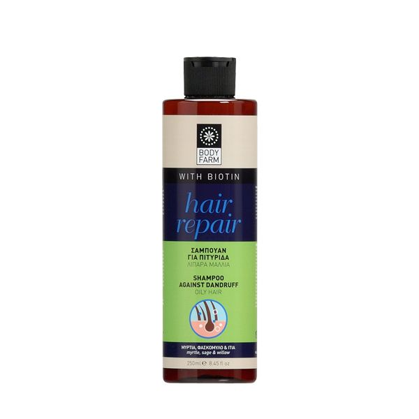 Natural shampoo against dandruff for oily scalp, with Panthenol, Nettle, Biotin & Mineral complex, Myrtle, Piroctone olamine, Sage & Willow