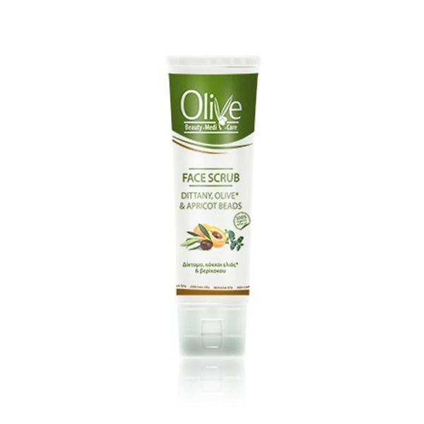 Natural creamy face scrub with dittany, olive and apricot beads rejuvenates with a strong antioxidant activity