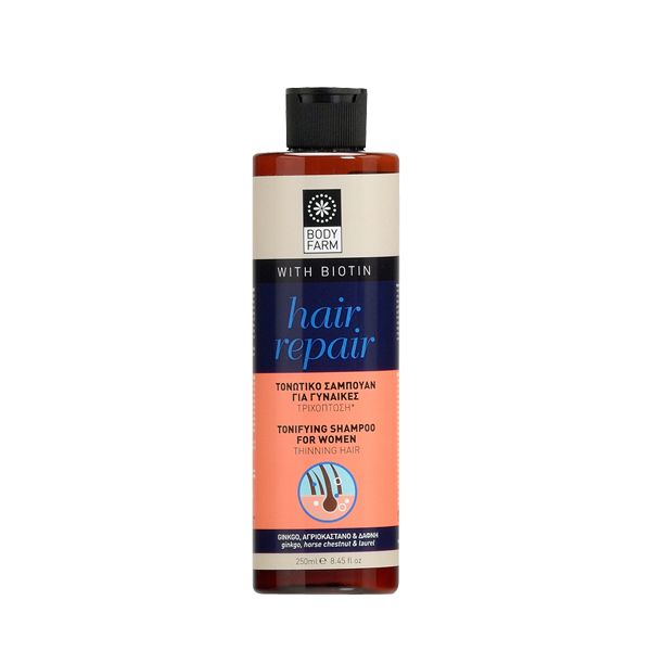 Tonifying shampoo for women who suffer from hair loss enhanced with Biotin, Vitamin E, Menthol, Jojoba oil, Panthenol and more